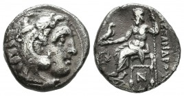 "Kings of Macedon. Alexander III ""the Great"", circa 310-301 BC. AR Drachm (15mm, 4.10g). Uncertain (Kolophon). Head of Herakles right, wearing lion's s..."
