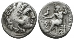 "Kings of Macedon. Alexander III ""the Great"", circa 323-317 BC. AR Drachm (15mm, 4.02g). Lampsakos. Head of Herakles right, wearing lion skin headdress..."