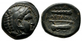 "Kings of Macedon. Alexander III ""the Great"". 336-323 B.C. AE unit (18mm, 6.97g). Uncertain Macedonian mint. Head of Herakles right, wearing lion's ski..."