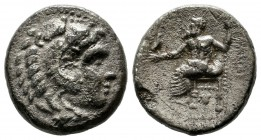 "Kings of Macedon. Alexander III ""the Great"". 336-323 BC. AR Drachm (15mm, 4.00g). Sardes mint. Struck under Menander, circa 324/3 BC. Head of Herakles..."