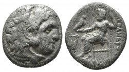 Kings of Macedon. Philip III Arrhidaeus, circa 323-317 BC. AR Drachm (15mm, 4.12g). Head of Herakles right, wearing lion skin / ΦIΛIΠΠOY, Zeus seated ...