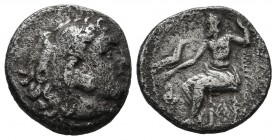"Kings of Macedon. Uncertain mint. Alexander III ""the Great"" 336-323 BC. AR Drachm (16mm, 3.83g). Head of Herakles right, wearing lion's skin headdress..."