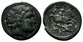 Kings of Thrace. Lysimachos, 305-281 BC. AE (20mm, 5.28g). Lysimacheia mint. Struck circa 305-301 BC. Diademed head of Apollo right / Youth on horse g...