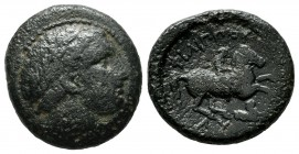 Kings of Thrace. Lysimachos, 306-281 BC. AE (18mm, 5.03g). In the name and types of Philip II of Macedon. Lysimachia mint, 306-300 BC. Laureate head o...
