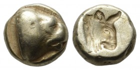 Lesbos, Mytilene. Circa 478-455 BC. EL Hekte – Sixth Stater (11mm, 2.49 g, 6h). Head of lion right; [ΛE below] / Incuse head of bull right. Bodenstedt...