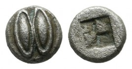Lesbos, Uncertain. BI 1/36 Stater (5mm, 0.27g). Circa 500-450 BC. Two eyes or grain ears. / Quadripartite incuse square. SNG Copenhagen 292; SNG Münch...