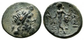 Lycaonia, Eikonion. Circa 100 BC. AE (17mm, 3.74g). Laureate head of Zeus right / ЄIKONI / ЄWN. Perseus standing left, holding harpa and head of Medus...