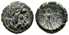 Lycaonia, Eikonion. Circa 100-0 BC. AE (15mm, 3.27g). Laureate head of Zeus right / [Ε]ΙΚΟΝ[Ι]-[ΕΩΝ], naked Perseus standing left, holding harpa in ri...