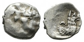 Lycaonia, Laranda. AR Obol (10mm, 0.65g). Circa 324/3 BC. Baaltars seated left, holding grain ear, grape bunch, and scepter / Forepart of wolf right; ...