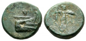 Lycia, Phaselis. Circa 190-167 BC. AE (15mm, 4.85g). Prow of galley right; above, Nike flying right, holding wreath / Athena Promachos advancing right...