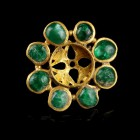 Roman Gold Disc with Emeralds