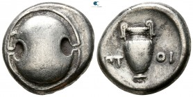 Boeotia. Thebes. ΠΤΟΙ- (Ptoi-), magistrate 395-338 BC. Struck circa 379-368 BC. Stater AR