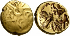CELTIC, Northeast Gaul. Suessiones. Late 2nd-mid 1st century BC. Stater (Gold, 19 mm, 5.92 g, 11 h). Devolved laureate head of Apollo to right. Rev. C...