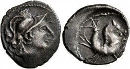 CELTIC, Southern Gaul. Allobroges. Circa 100-75 BC. Drachm (Silver, 16 mm, 2.24 g, 10 h), 'à l'hippocampe' type. Helmeted head of Mars to right. ...