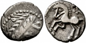 CELTIC, Southern Gaul. Allobroges. Circa 80-70 BC. Drachm (Silver, 15 mm, 2.36 g, 6 h). Celticized laureate male head to right. Rev. Horse springing l...