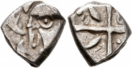 CELTIC, Southern Gaul. Volcae-Tectosages. Mid 2nd-early 1st century BC. Drachm (Silver, 13 mm, 2.80 g). Head to left, wearing necklace; before, two do...