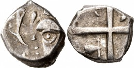 CELTIC, Southern Gaul. Volcae-Tectosages. Mid 2nd-early 1st century BC. Drachm (Silver, 15 mm, 2.74 g). Head to left, wearing necklace; before, two do...