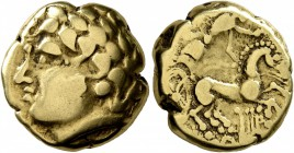 CELTIC, Central Gaul. Arverni. Late 2nd-early 1st century BC. Stater (Gold, 16 mm, 7.69 g, 1 h). Celticized laureate male head to left. Rev. Chariotee...