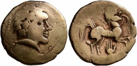 CELTIC, Central Gaul. Pictones. Circa 100-50 BC. Stater (Electrum, 21 mm, 6.79 g, 1 h), 'profil de type armoricain' type. Celticized male head to righ...