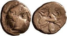 CELTIC, Central Gaul. Pictones. Circa 100-50 BC. Stater (Electrum, 20 mm, 6.37 g, 4 h), 'profil de type armoricain' type. Celticized male head to righ...