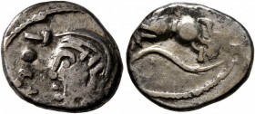 CELTIC, Central Gaul. Sequani. Circa mid 1st century BC. Quinarius (Silver, 14 mm, 1.84 g, 6 h), Togirix. TOGI[RIX] Celticized head of Roma to left. R...