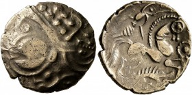 CELTIC, Northwest Gaul. Aulerci Eburovices. Late 2nd to first half of 1st century BC. Stater (Electrum, 17 mm, 3.16 g, 8 h), 'au sanglier' type. Celti...