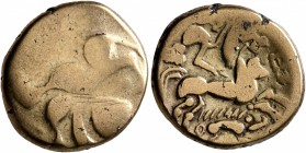 CELTIC, Northwest Gaul. Baiocassi. 2nd-1st century BC. Stater (Electrum, 18 mm, 4.94 g, 1 h), 'au sanglier' type. Celticized male head to right, surmo...