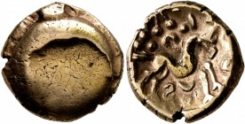CELTIC, Northeast Gaul. Ambiani. Circa 60-30 BC. Stater (Electrum, 17 mm, 5.56 g). Large crescent on blank convex surface. Rev. Celticized horse gallo...