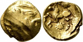 CELTIC, Northeast Gaul. Bellovaci. Circa 60-30/25 BC. Stater (Gold, 18 mm, 6.16 g, 1 h), 'à l'astre' type. Devolved male head to right, with prom...
