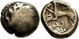 CELTIC, Northeast Gaul. Mediomatrici. Circa 60-30/25 BC. Stater (Electrum, 16 mm, 6.73 g, 4 h), 'type de Morville'. Male head to right. Rev. Celticize...
