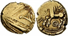 CELTIC, Northeast Gaul. Remi. Late 2nd-mid 1st century BC. Stater (Gold, 17 mm, 6.16 g, 3 h), 'à l'oeil' type. Devolved laureate male head to rig...