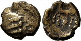 CELTIC, Northeast Gaul. Remi. Late 2nd-mid 1st century BC. Quarter Stater (Electrum, 11 mm, 1.34 g). Devolved male head. Rev. Horse walking left; belo...