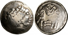 CELTIC, Central Europe. Helvetii. Late 2nd-early 1st century BC. Stater (Electrum, 22 mm, 6.96 g, 1 h). Celticized laureate head of Apollo to right. R...