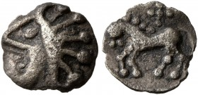 CELTIC, Central Europe. Vindelici. 1st century BC. 1/4 Quinar (Silver, 8 mm, 0.23 g, 3 h), Manching, 'Stachelhaar' Type. Celticized head to left, with...