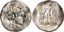 CELTIC, Lower Danube. Imitations of Thasos. Late 2nd-1st century BC. Tetradrachm (Silver, 36 mm, 15.95 g, 12 h). Celticized head of Dionysos to right,...