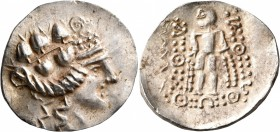 CELTIC, Lower Danube. Imitations of Thasos. Late 2nd-1st century BC. Tetradrachm (Silver, 35 mm, 16.35 g, 2 h). Celticized head of Dionysos to right, ...