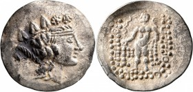CELTIC, Lower Danube. Imitations of Thasos. Late 2nd-1st century BC. Tetradrachm (Silver, 35 mm, 16.77 g, 1 h). Celticized head of Dionysos to right, ...