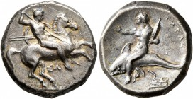 CALABRIA. Tarentum. Circa 332-302 BC. Didrachm or Nomos (Silver, 20 mm, 7.89 g, 7 h), Sa..., magistrate. Nude rider on horse galloping to right, stabb...