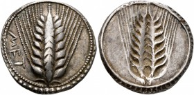 LUCANIA. Metapontion. Circa 540-510 BC. Stater (Silver, 25 mm, 7.38 g, 12 h). MET Ear of barley with eight grains; around, border of dots within two c...
