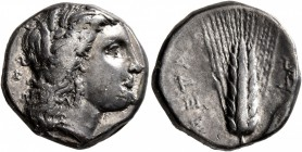 LUCANIA. Metapontion. Circa 330-290 BC. Didrachm or Nomos (Silver, 19 mm, 7.53 g, 11 h). Head of Demeter to right, wearing wreath of grain ears. Rev. ...