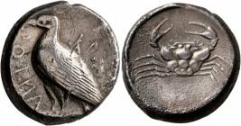 SICILY. Akragas. Circa 470/465-440s. Tetradrachm (Silver, 24 mm, 17.15 g, 11 h). AKPAC-ANTOC Eagle standing left with closed wings. Rev. Crab within s...