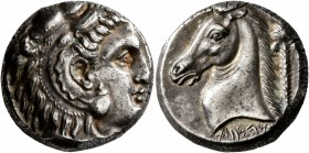 SICILY. Entella (?). Punic issues , circa 300-289 BC. Tetradrachm (Silver, 22 mm, 16.79 g, 8 h). Head of Herakles-Melqart to right, wearing lion's ski...