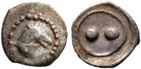 SICILY. Gela. Circa 480/75-475/70 BC. Hexas - Dionkion (Silver, 6 mm, 0.09 g). Head of a horse to right. Rev. Two pellets. Jenkins 201. Very rare. Ver...