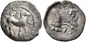 SICILY. Gela. Circa 465-450 BC. Litra (Silver, 12 mm, 0.55 g, 9 h). Horse standing right; above, wreath; to right, crescent. Rev. CEΛA Forepart of a m...