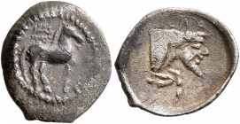 SICILY. Gela. Circa 465-450 BC. Litra (Silver, 13 mm, 0.65 g, 10 h). Horse standing right; above, wreath; to right, crescent. Rev. CEΛA Forepart of a ...
