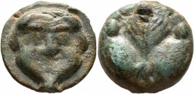 SICILY. Selinos. Circa 450-440 BC. Trias or Tetronkion (Bronze, 20 mm, 12.48 g, 12 h). Facing gorgoneion with protruding tongue. Rev. Selinon leaf; fo...