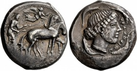 SICILY. Syracuse. Second Democracy , 466-405 BC. Tetradrachm (Silver, 25 mm, 16.88 g, 11 h), circa 450-440. Charioteer driving quadriga walking to rig...