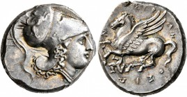 SICILY. Syracuse. Agathokles , 317-289 BC. Stater (Silver, 21 mm, 8.46 g, 9 h), circa 317-305. Head of Athena to right, wearing Corinthian helmet deco...
