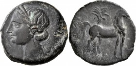 CARTHAGE. Second Punic War. Circa 220-215 BC. Trishekel (Bronze, 31 mm, 18.94 g, 1 h). Head of Tanit to left, wearing wreath of grain ears. Rev. Horse...