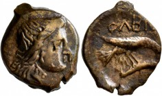 SKYTHIA. Olbia. Circa 400-350 BC. AE (Bronze, 19 mm, 4.17 g, 1 h). Head of Demeter to right, wearing wreath of grain ears. Rev. ΟΛBIO Sea eagle flying...